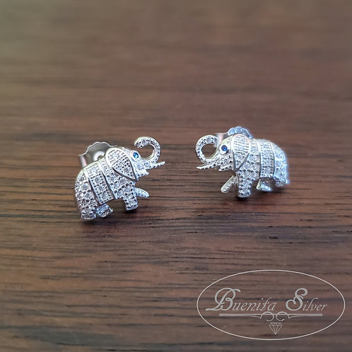 Sterling Silver CZ Elephant Earrings