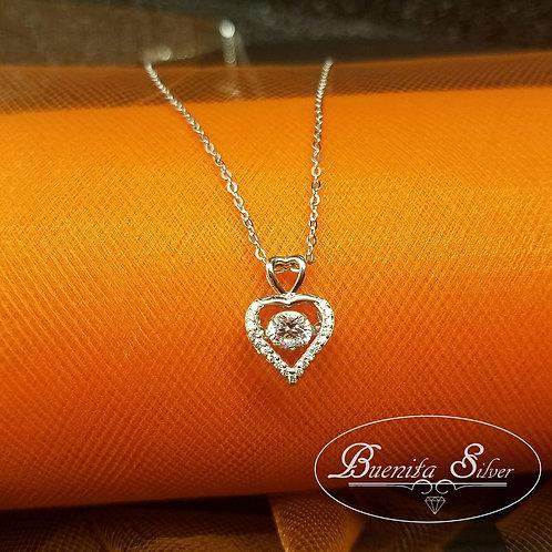 Sterling Silver CZ Heart Pendant Necklace Dangle Stone