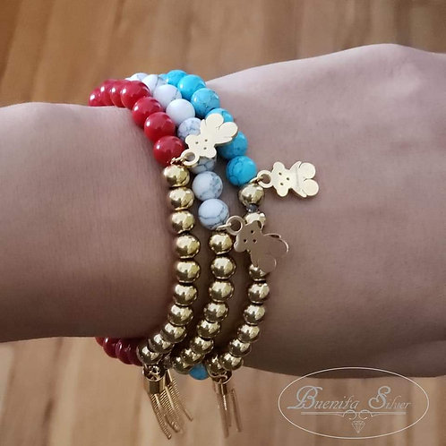 Pearls Strand Bracelet With Stainless Steel Teddy Bear & Tassel