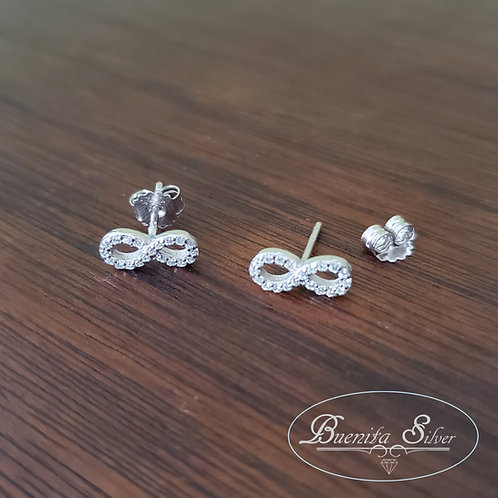 Sterling Silver CZ Infinity Stud Earrings