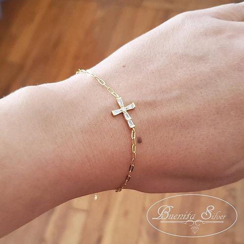 Sterling Silver CZ Cross Bracelet