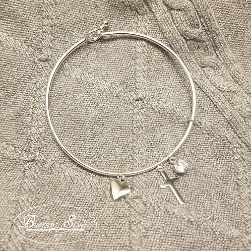 Sterling Silver Cross & Heart Charms Bangle