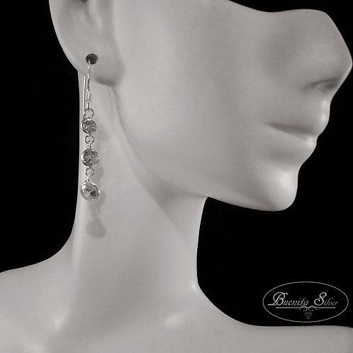Sterling Silver CZ Three Stone Earrings