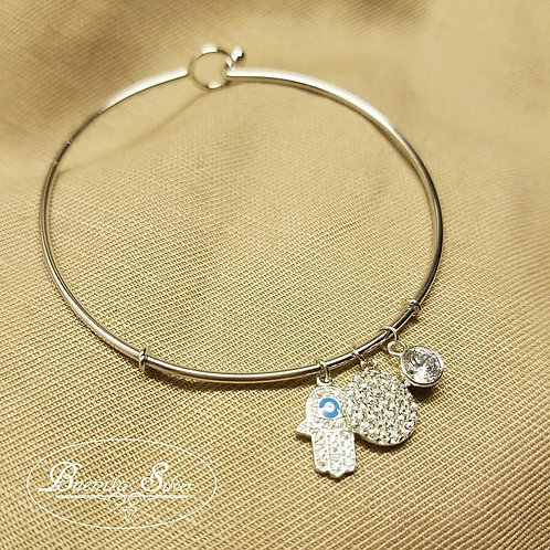 Sterling Silver CZ Round and Hamsa Hand Charms Bangle