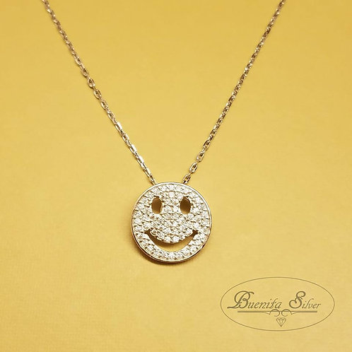Rhodium Plated Sterling Silver Happy Face Necklace