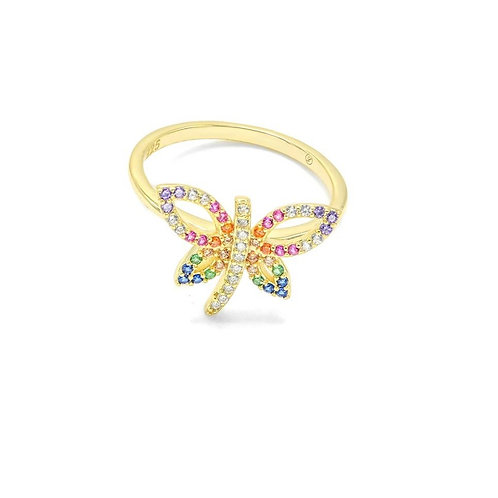 Sterling Silver CZ Multi Colors Butterfly Ring