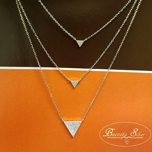Sterling Silver Three Layered CZ Necklace