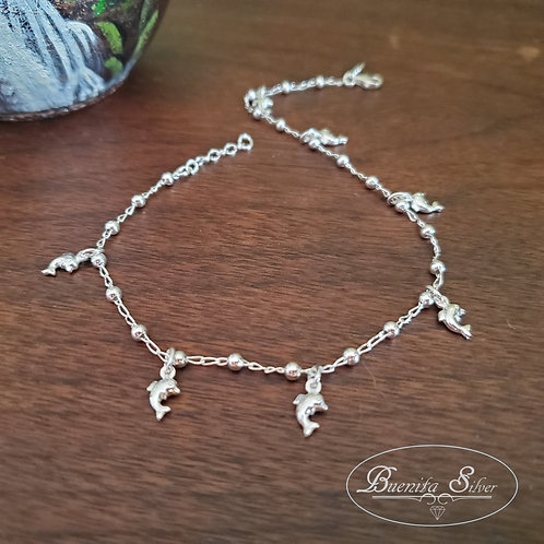"10"" Sterling Silver Dolphin Charms Ankle Bracelet"