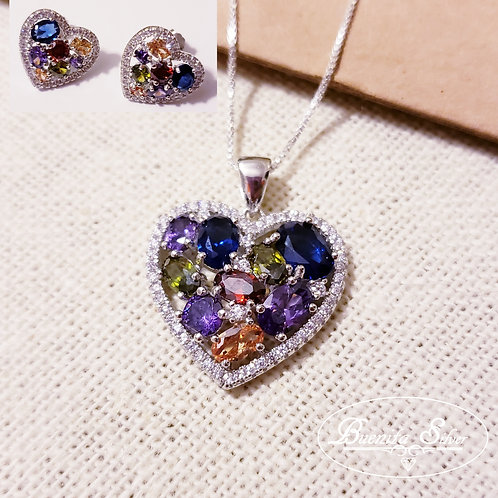 Sterling Silver Multi Color Heart Pendant Necklace & Earrings Set