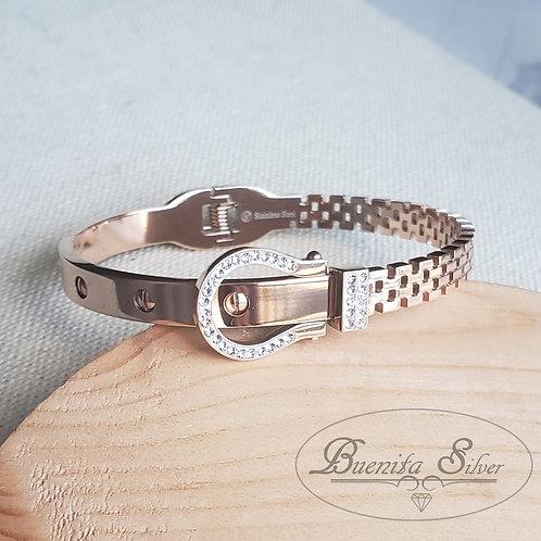 Stainless Steel CZ Buckle Bangle Bracelet Cuff