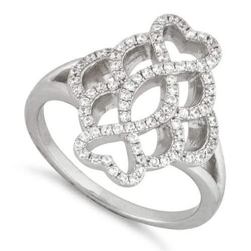 Sterling Silver Twisted Heart Pave CZ Ring