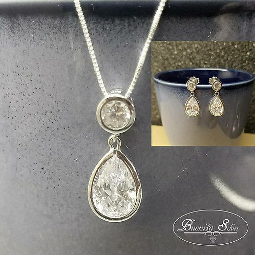 Sterling Silver CZ Teardrop Earrings & Necklace Set