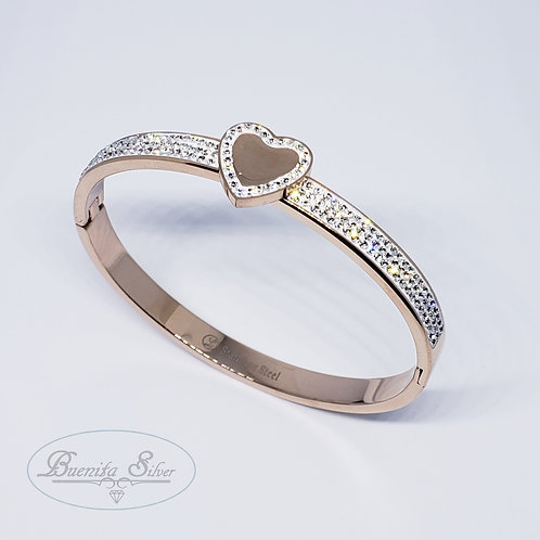 Stainless Steel CZ Heart Bangle