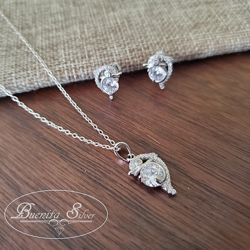 Sterling Silver CZ Dolphin Earrings & Pendant Necklace Set