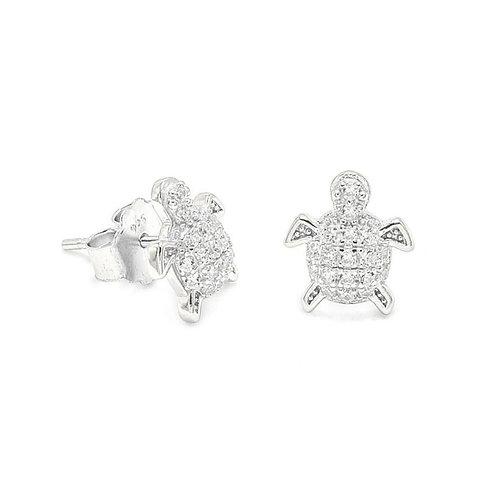 Sterling Silver CZ Turtle Stud Earrings