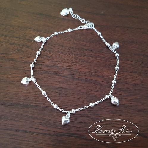 925 Sterling Silver Heart Charms Ankle Bracelet