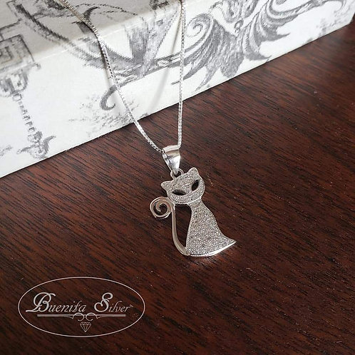 Sterling Silver CZ Cat Pendant Necklace