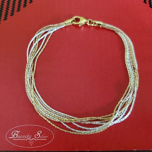 "7.5"" Sterling Silver Multi Strand Bracelet"