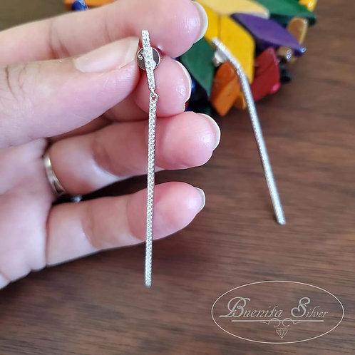 Sterling Silver Drop Bar Earrings