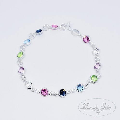 Sterling Silver Multi Color Stones Bracelet