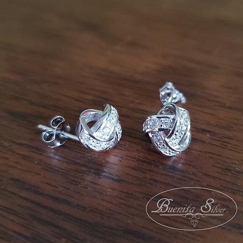 Sterling Silver CZ Knot Stud Earrings