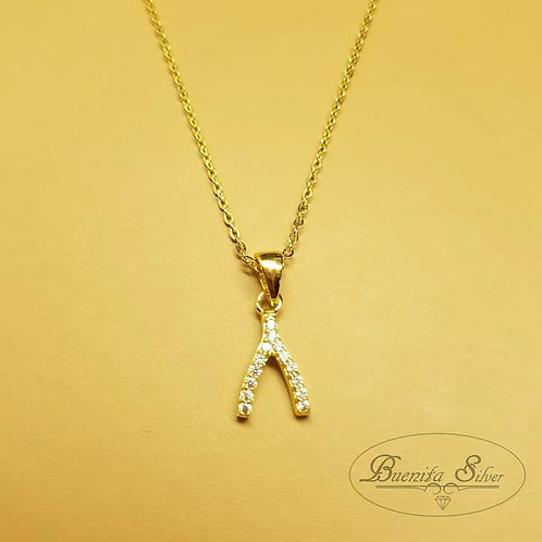 Sterling Silver CZ Wishbone Necklace