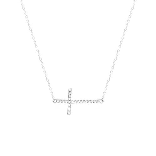 Sterling Silver CZ Sideways Cross Pendant Necklace