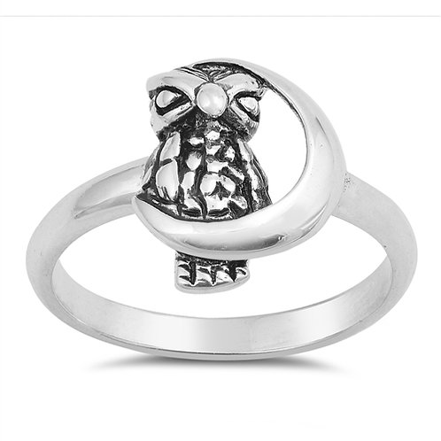 Sterling Silver Moon and Owl Ring