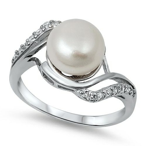 Sterling Silver Genuine Freshwater Pearl Ring