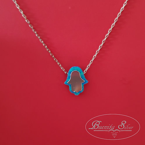 Sterling Silver Blue Opal Hand of God Hamsa Necklace