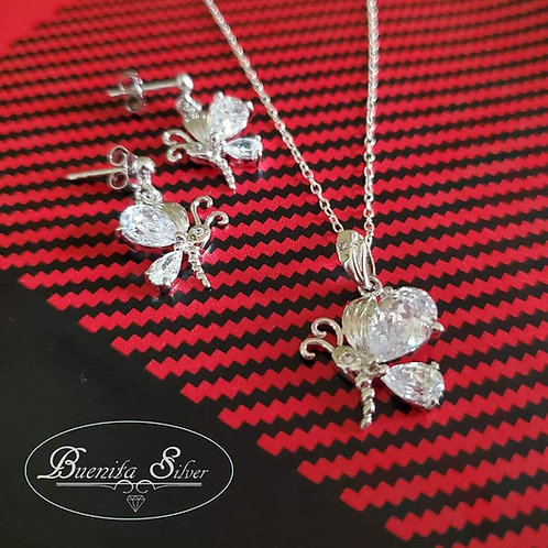 Sterling Silver CZ Butterfly Earrings & Pendant Necklace