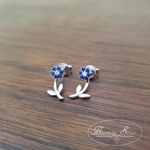 Sterling Silver CZ Flower Ear Jacket Earrings