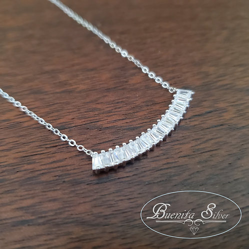 Sterling Silver CZ Curved Bar Necklace