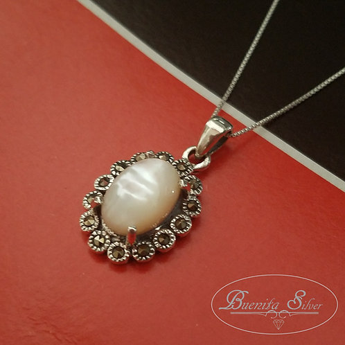 Sterling Silver Mother of Pearl Marcasite Pendant Necklace