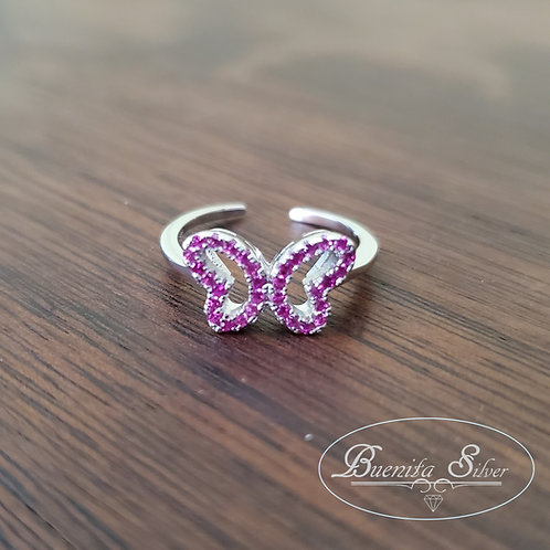 Sterling Silver CZ Butterfly Toe Ring