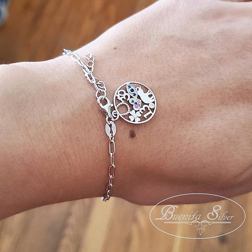 Sterling Silver  CZ Lucky Charm Bracelet
