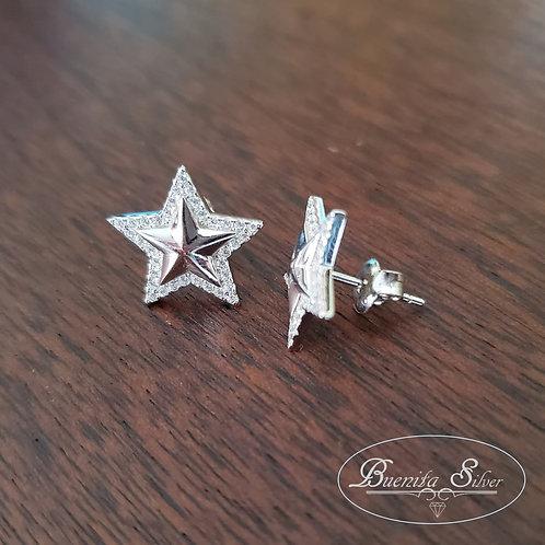 Sterling Silver CZ Star Stud Earrings