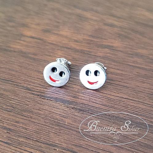 Sterling Silver Happy Face Stud Earrings