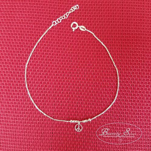 925 Sterling Silver Peace Sign Ankle Bracelet