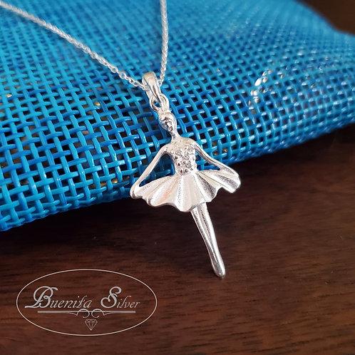 Sterling Silver Ballet Dancer Pendant Necklace