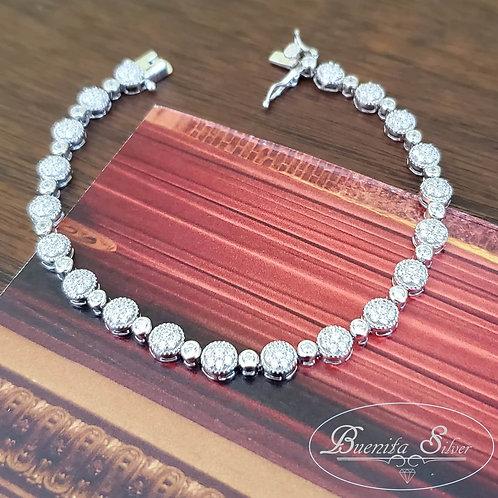 """7"""" Sterling Silver Cubic Zirconia Bracelet"""