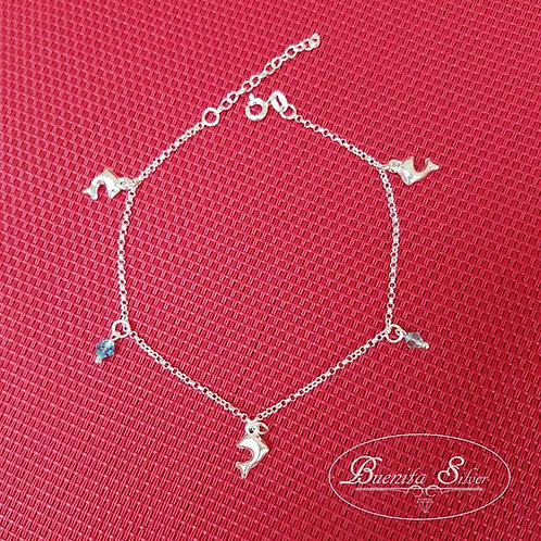 925 Sterling Silver Dolphins & Beads Anklet