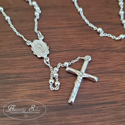 "24"" Sterling Silver Rosary Necklace with 3MM Beads"