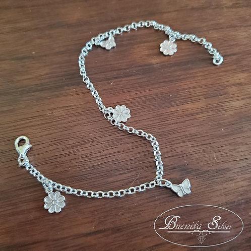 Sterling Silver Flowers & Butterfly Anklet Bracelet