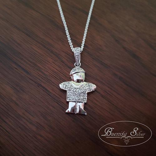 Sterling Silver Little Boy Pendant Necklace