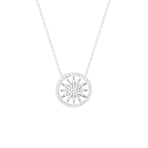 Sterling Silver Cubic Zirconia Round Pendant Necklace