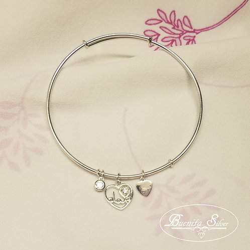 Sterling Silver CZ Heart Charms Bangle