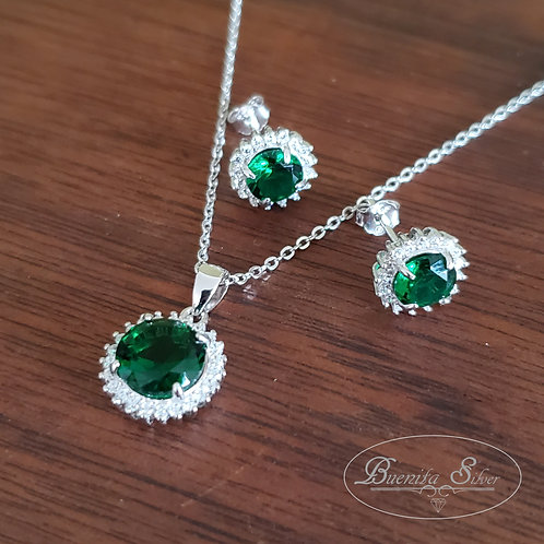 Sterling Silver CZ Simulated Emerald Halo Earrings & Necklace Set
