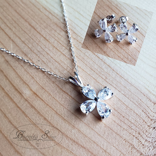 Sterling Silver CZ Flower Earrings & Pendant Necklace Set