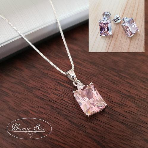 Sterling Silver Rectangular Pink CZ Pendant &Earrings Set